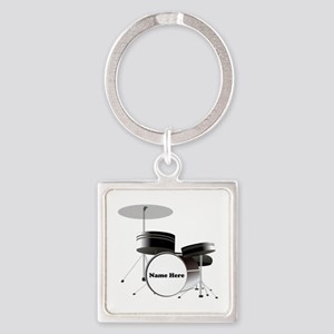 Drums Personalized Square Keychain