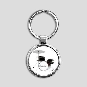 Drums Personalized Round Keychain