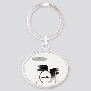 Drums Personalized Oval Keychain