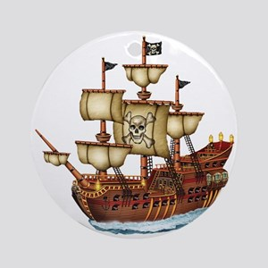 Pirate Ship with Stripes Ornament (Round)