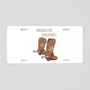 Saddle Up Partner Aluminum License Plate