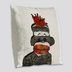 Sad Sock Monkey Burlap Throw Pillow