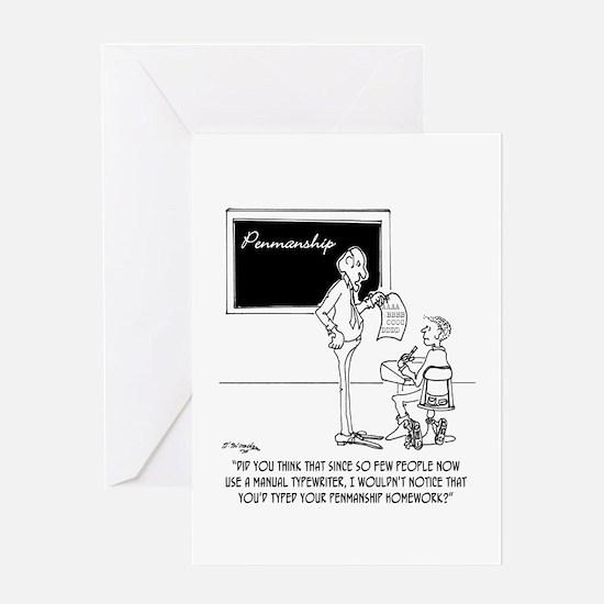 Typing Your Penmanship Homework Greeting Card