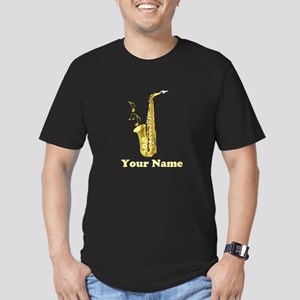 Saxophone Personalized Men's Fitted T-Shirt (dark)