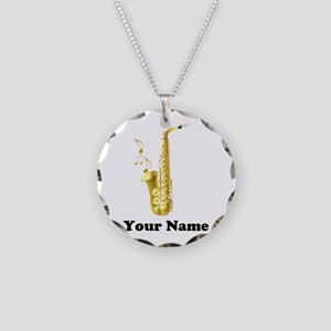 Saxophone Personalized Necklace Circle Charm