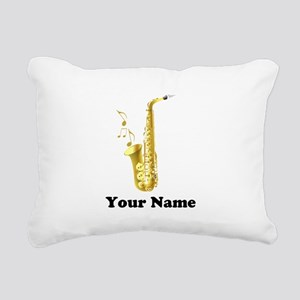 Saxophone Personalized Rectangular Canvas Pillow
