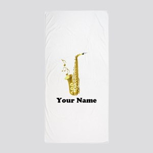 Saxophone Personalized Beach Towel