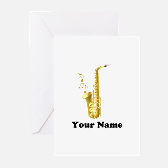 Saxophone Personalized Greeting Cards (Pk of 20)