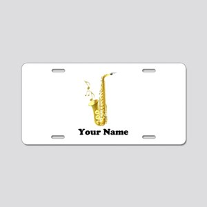 Saxophone Personalized Aluminum License Plate