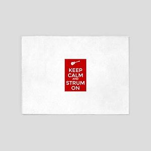 Keep Calm and Strum On 5'x7'Area Rug