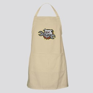 Bulldog Dog Spanner Head Mascot Apron