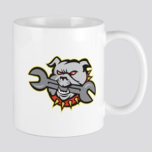 Bulldog Dog Spanner Head Mascot Mugs