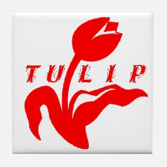 Red Tulip Tile Coaster
