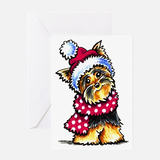 Yorkie Scarf Greeting Card