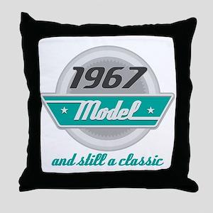 1967 Birthday Vintage Chrome Throw Pillow