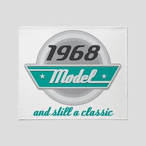 1968 Birthday Vintage Chrome Throw Blanket