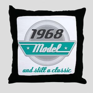 1968 Birthday Vintage Chrome Throw Pillow