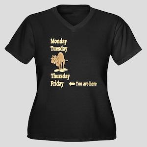 Friday Camel Women's Plus Size V-Neck Dark T-Shirt