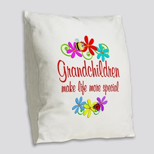 Special Grandchildren Burlap Throw Pillow