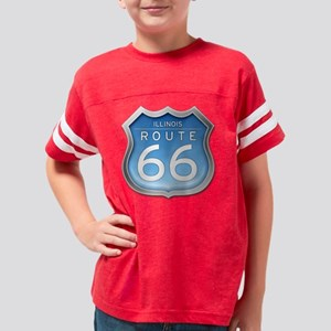 Illinois Route 66 - Blue Youth Football Shirt