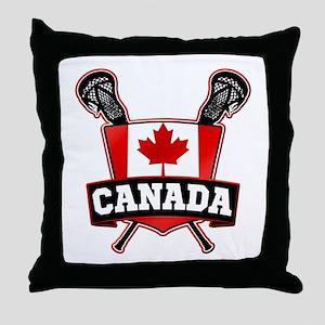 Canadian Flag Lacrosse Logo Throw Pillow