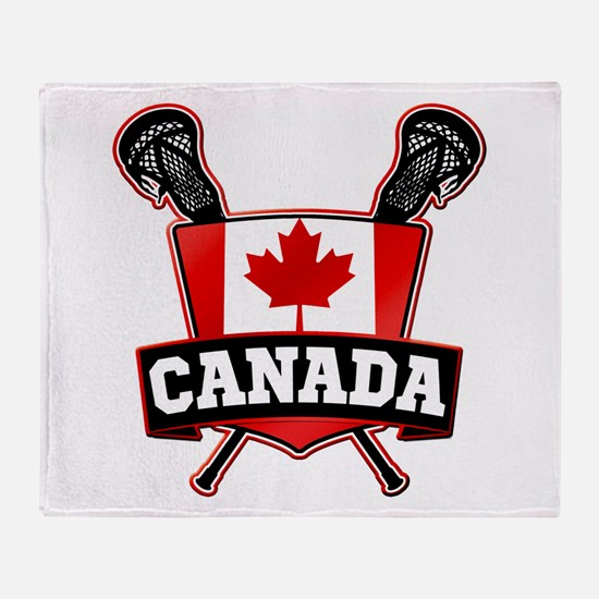 Canadian Flag Lacrosse Logo Throw Blanket