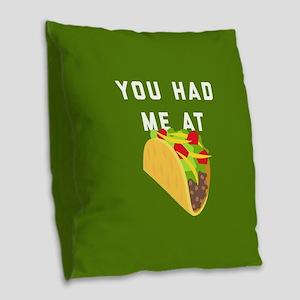 You Had Me At Tacos Emoji Burlap Throw Pillow