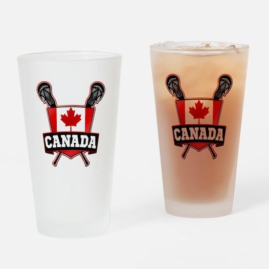 Canadian Flag Lacrosse Logo Drinking Glass