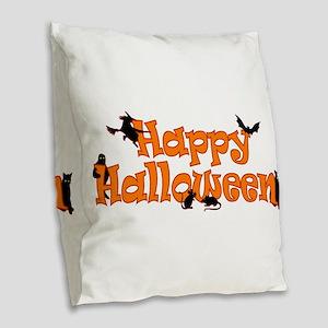 Happy Halloween Burlap Throw Pillow