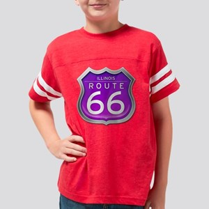 Illinois Route 66 - Purple Youth Football Shirt