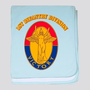 DUI - 1st Infantry Division with Text baby blanket