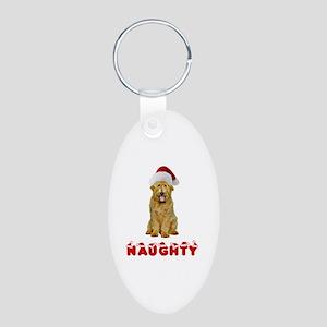Naughty Goldendoodle Aluminum Oval Keychain