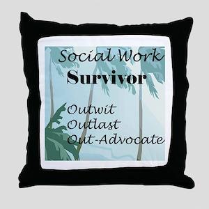 Social Work Survivor Throw Pillow