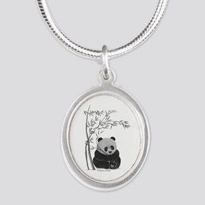 Little Panda Silver Oval Necklace