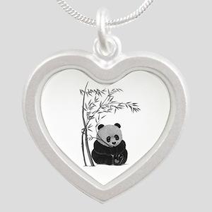 Little Panda Silver Heart Necklace