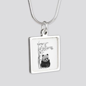 Little Panda Silver Square Necklace