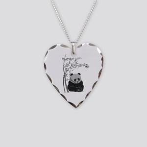 Little Panda Necklace Heart Charm