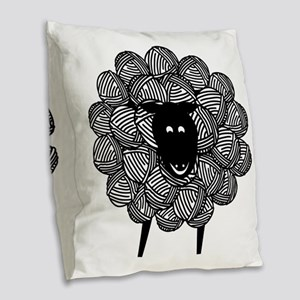 Yarny Sheep for Lights Burlap Throw Pillow