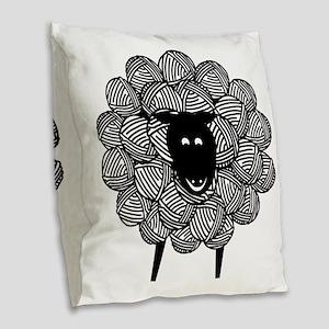 Yarny Sheep for Lights Burlap Throw Pillow