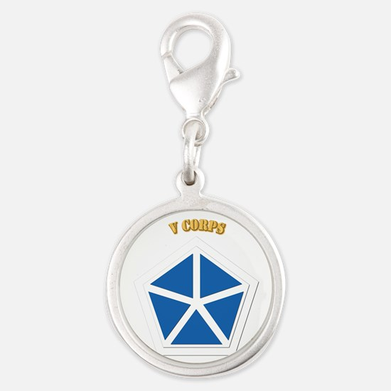 SSI - V Corps With Text Silver Round Charm