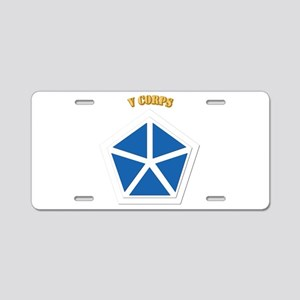 SSI - V Corps With Text Aluminum License Plate