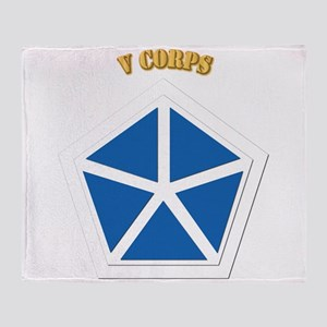 SSI - V Corps With Text Throw Blanket
