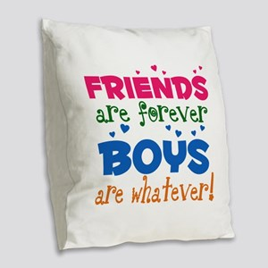 Friends are Forever Burlap Throw Pillow