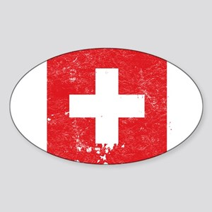 Swiss Flag (Punk) Oval Sticker
