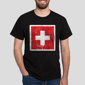 Swiss Flag (Punk) Dark T-Shirt
