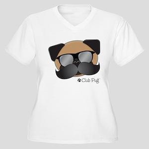 Club Pug Stache Plus Size T-Shirt