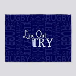 Line Out and Try Rugby 5'x7'Area Rug