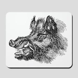 Vintage 1800s Wild Boar Illustration Fer Mousepad