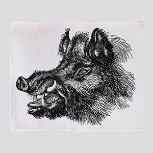 Vintage 1800s Wild Boar Illustration Throw Blanket