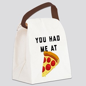 You Had Me At Pizza Emoji Canvas Lunch Bag
